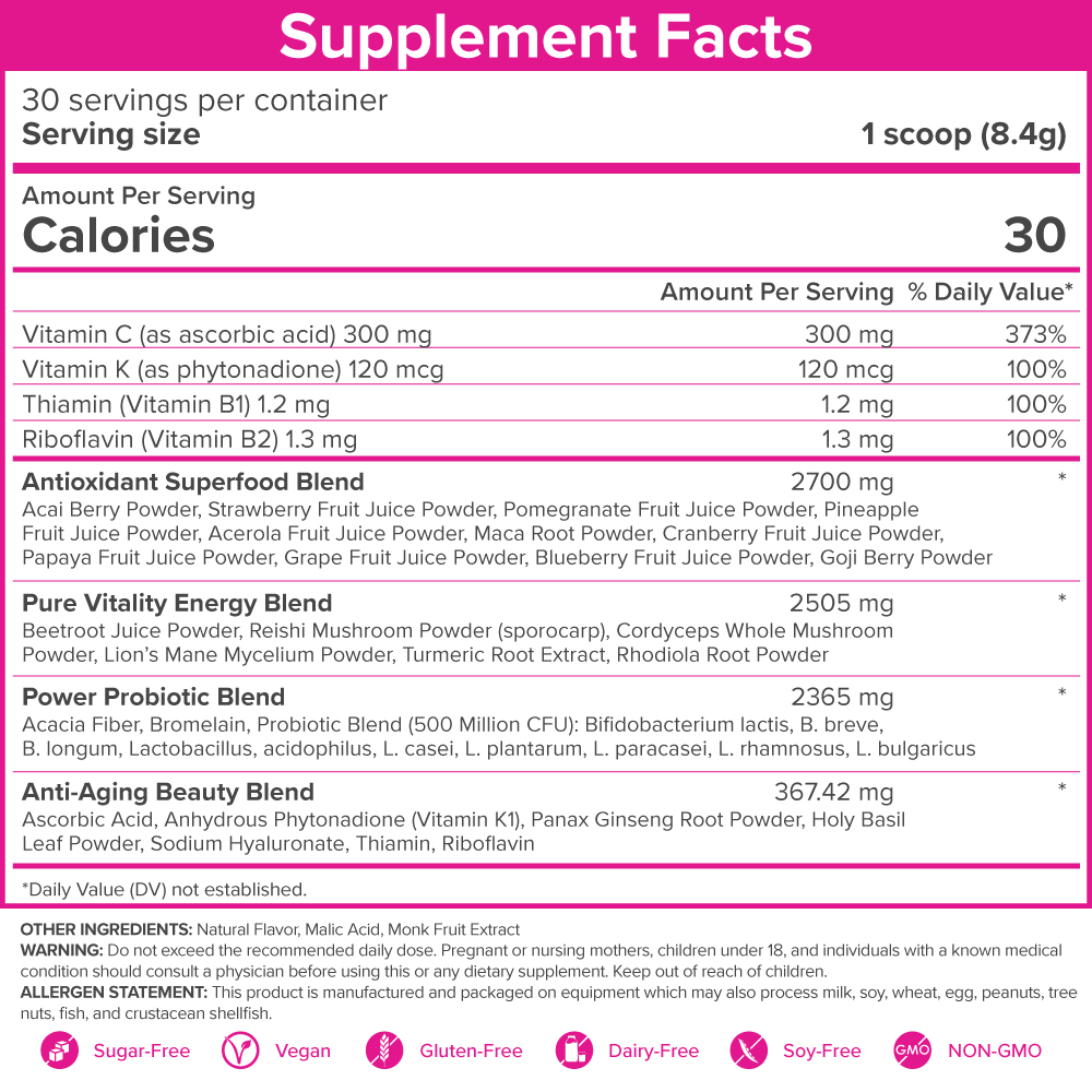 SkinnyFit Beauty Juice Nutrition Label