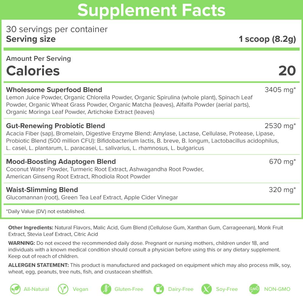 SkinnyFit Greens Nutrition Label