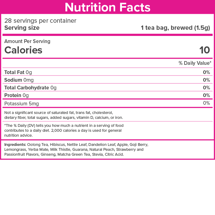SkinnyFit detox tea nutrition facts