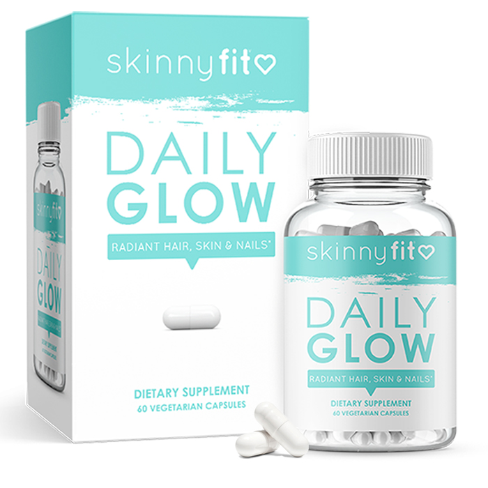 SkinnyFit Daily Glow and skin supplement packaging